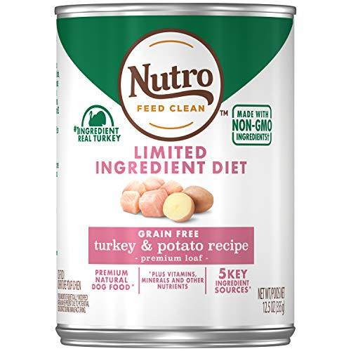 NUTRO Limited Ingredient Diet Adult Canned Natural Wet Dog Food Premium Loaf Turkey & Potato Recipe, (12) 12.5 oz. Cans (Food For Dogs That Won T Eat)