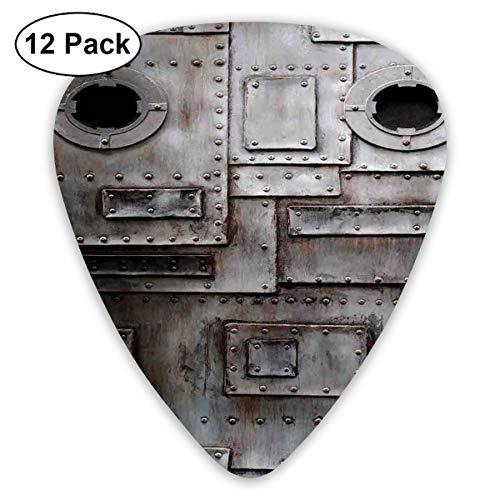 - Guitar Picks 12-Pack,Rusty Stylized Iron Porthole Grunge Scratched Steel Factory Entrance Retro Image