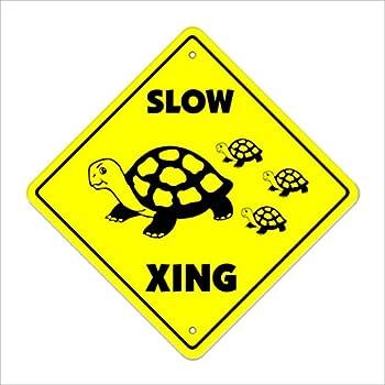 Amazon Com Turtle Crossing Xing Metal Tin Funny Road