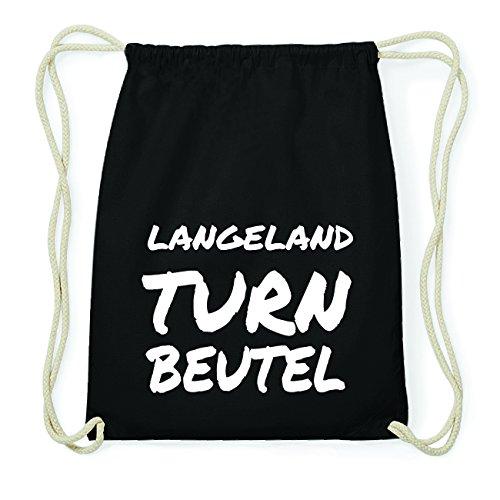 JOllify LANGELAND Hipster Turnbeutel Tasche Rucksack aus Baumwolle - Farbe: schwarz Design: Turnbeutel J6xHsdHPgr