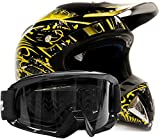 Adult Offroad Helmet & Goggles Gear Combo, Yellow w/Black (Large)