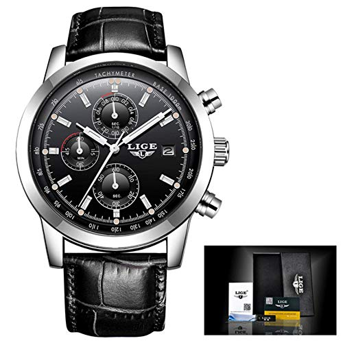 2018 New LIGE Quartz Watch Men Top Brand Luxury Casual Watches Leather Men's Military Sport Chronograph Waterproof Clock Herrenuhr,Reloj para Hombres,Orologio da Uomo 59 (Silver Black Leather)