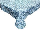 J & M Home Fashions Blue Paisley Vinyl Tablelcoth 52x90