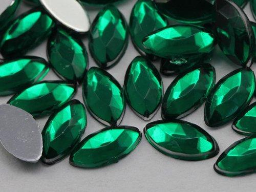 8x4mm Emerald H106 Flat Back Navette Acrylic Jewels High ...