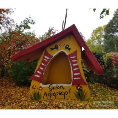 """'Mangeoire """"La vie est belle, Pièce unique en l'oiseau Villa Atelier, peint à la main, en bois issu de forêts süddeutschen certifié"""