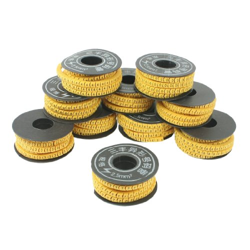 Arabic Markers - uxcell 10 Rolls Yellow Flexible PVC Arabic Number 0-9 Print 2.5mm2 Wire Cable Markers