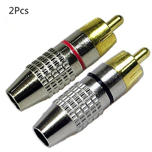 Wakaka RCA Male Plug Screws Audio Video In-Line Jack Adapter Gold Plated,RCA Plug Solderless,Black And Red (2Pcs)