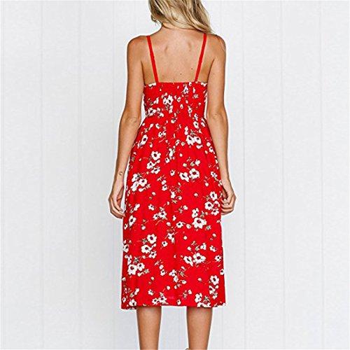da tasche Abiti Red Bohemian floreale longuette con Spaghetti Daisy Strap colori Swing Button Abito donna Estate Down 27 Oc4dgHWq4y