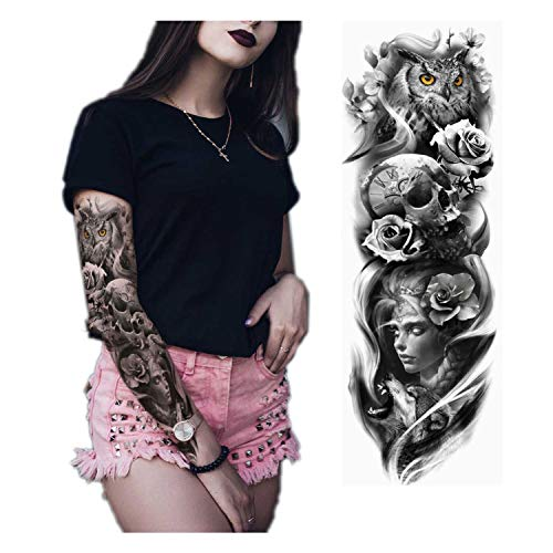 Large Arm Sleeve Tattoo Japanese Geisha Snake Waterproof Temporary Tattoo Sticker Lotus Peacock Girl Tattoo Body Art Women,A15]()