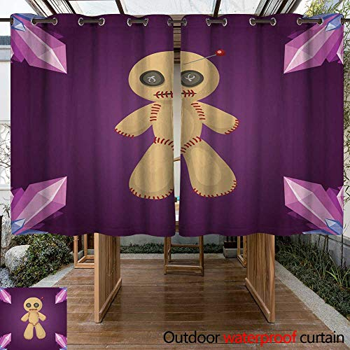 Home Patio Outdoor Curtain Voodoo Doll Flat icon Punishment Sign Spirituality Anger Magic Toy and Halloween Needle Witchcraft Horror Symbol Vector W63 x L72]()