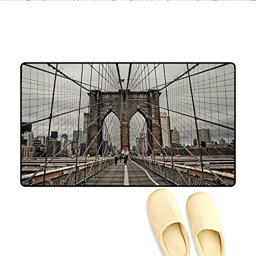 (Bath Mat,View of Historical Famous Brooklyn Bridge and Cable Pattern NYC Architecture,Doormat Outside,Beige Brown,Size:16