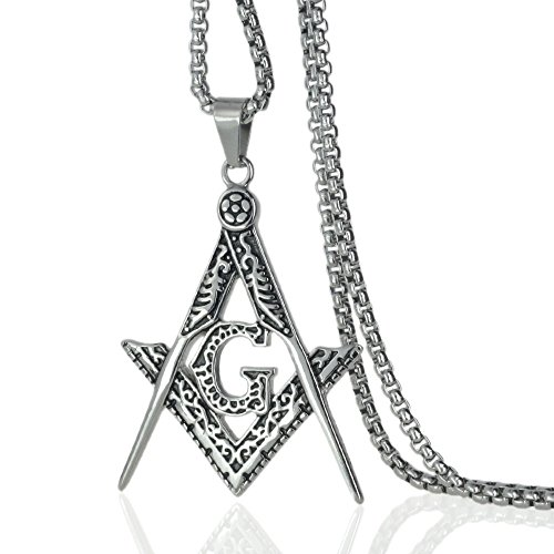 Ahappy-Gold Filled Sculpture Freemasonry Masonic Mason Pendant Necklace 19.68 23.6 27.55 31.5 N282