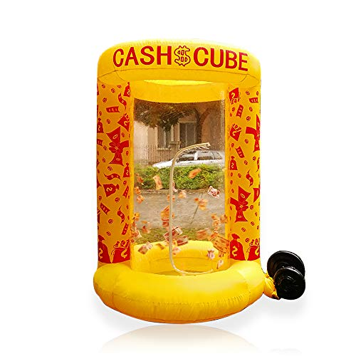 Inflatable Cash Cube Booth for Advertisment, Inflatable Money Grab Machine for Event (No Blower Included) (Yellow)