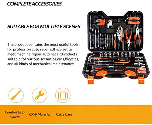 力学ツールセット、 自動修復ツールセット 30ピースホームメカニクスツールセット ソケットレンチとスクリュードライブセット付き ホームオートリペア用 (合金鋼)