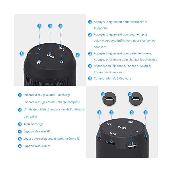 Enceinte Bluetooth Portable Lumineuse Haut-Parleur Bluetooth sans Fil avec LED Lumière Radio FM Fonction TF Carte TEL ELEHOT 2