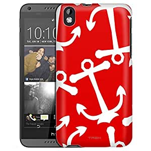 HTC Desire 816 Case, Slim Fit Snap On Cover by Trek Anchors White on Red Case