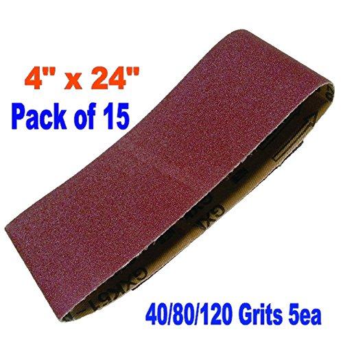 "15X 4x24"""" Assorted 40/80/120 GritsSanding Belts Aluminium Oxide 40/80/120 Grits Sander Abrasive Makita Black and Decker"