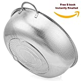 Pasta Strainer Stainless Steel, Best Food Colander 5 Quart, Micro Perforated, Metal, with Handles, For Spaghetti, Rice,Orzo,Vegetables &Fresh Fruits Salad+BONUS (Cooking recipe E-Book)