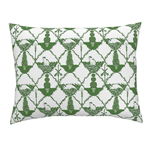 Roostery Garden Tool Cat Green Trellis Ogee Toile Standard Knife Edge Pillow Sham Cat Nip Cat Nap Garden ~ by Peacoquettedesigns 100% Cotton - Trellis Sham Standard Garden