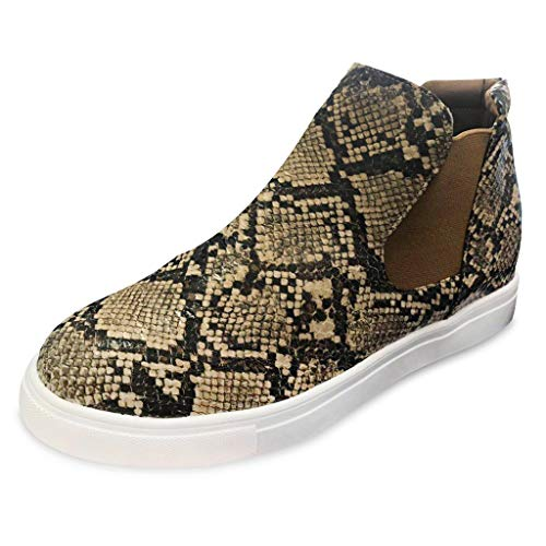 - ❤️ LIBERTY-GIRLS❤️ Women Ankle Women's Preforated Slip Leopard On Sneakers Yellow