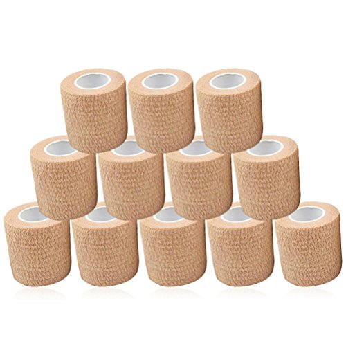 Firelong Self Adhesive Bandages Cohesive Wrap,12 Rolls 2 Inches × 5 Yards Strong Elastic First Aid Gentle Tape for Wrist and Ankle Sprains & Swelling, Emergency