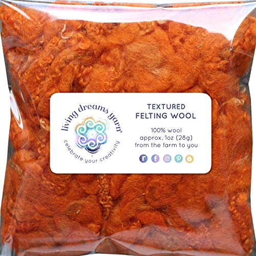 Textured Felting Wool. Corriedale Fiber Includes Curly Locks for Needle Felting, Spinning, Doll Hair and Waldorf Crafts - Tangerine