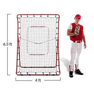 Rukket Pitch Back Baseball / Softball Rebounder PRO w/ 2 PurePower Weighted Balls | Pitching and Throwing Practice Partner | Adjustable Angle Pitchback Trainer