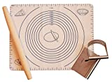PASTRY COMBO KIT - Silicone Mat with Measurements + Scraper/Cutter + Blender/Mixer + French Rolling Pin