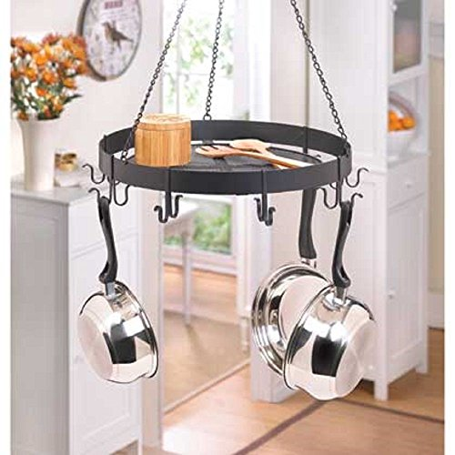 Black Iron Circular Hanging Pot Holder Kitchen Rack Storage on Top New