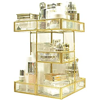 Image of Home and Kitchen 360 Degree Rotation Makeup Organizer Antique Countertop Cosmetic Storage Box Mirror Glass Beauty Display, Gold Spin Large Capacity Holder for Brushes Lipsticks Skincare Toner