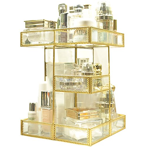 360 Degree Rotation Makeup Organizer Antique Countertop Cosmetic Storage Box Mirror Glass Beauty Display, Gold Spin Large Capacity Holder for Brushes Lipsticks Skincare Toner