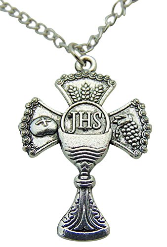 - Westman Works First Communion Cross and Chalice Pendant Medal Necklace with 18 Inch Chain