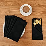 Deconovo Soft Jacquard Damask Dinner Cloth Napkins with Round Patterns 18 x 18 inch Stain and Spillproof Smooth Luxury Serviette for, Banquets, Weddings, or Family Gatherings Set of 6 Black