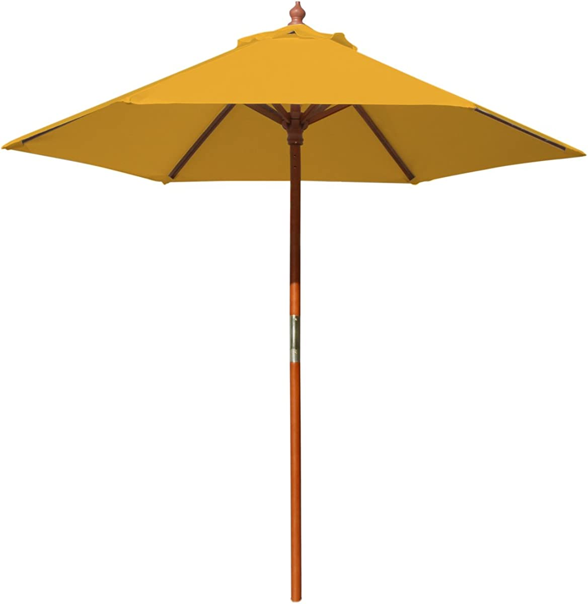 Best Pattio Umbrella 7ft, Outdoor Freestanding Market Patio Umbrella Wood Pole Round with Sturdy Fiber Ribs for Restaurant Food Table Cafe Backyard Garden Ground Lawn Deck Pool (Yellow)