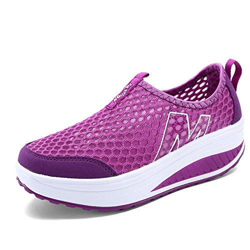 Toota Femmes Maille Respirant Occasionnel Slip-on Plate-forme Fitness Travailler Sneaker Violet