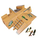 Uspeedy Finger Skateboard Starter Kit Ramp 8 PCS Set and Board 4 PCS Plastic Finger Skateboard Toys Color Random for Children and Adults (2 As pictures show)