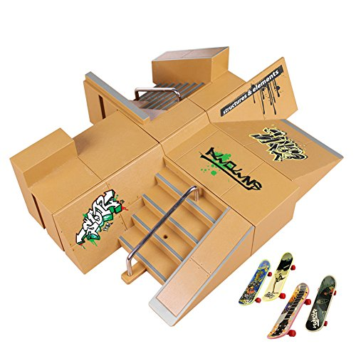 Uspeedy Finger Skateboard Starter Kit Ramp 8 PCS Set and Board 4 PCS Plastic Finger Skateboard Toys Color Random for Children and Adults (2 As pictures show) by Uspeedy