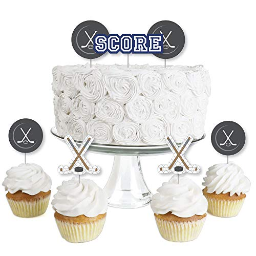 Shoots and Scores - Hockey - Dessert Cupcake Toppers - Baby Shower or Birthday Party Clear Treat Picks - Set of 24 -