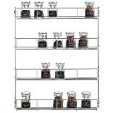 Kitchen & Housewares : VonShef 4 Tier Easy Fix Spice Rack Organizer Chrome Plated For Herbs and Spices Suitable for Wall Mount or Inside Cupboard, 19.6 x 16.1 Inches