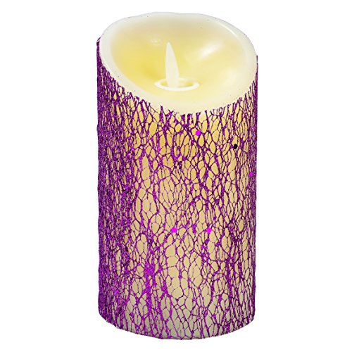 Flameless Candles Flickering With Timers - 3 x 6 Inches LED Light - Wax Pillar Candle - Multi-color Glitter - Holiday Design - For Ambient and Romantic Atmosphere - Timer - Fre Amber
