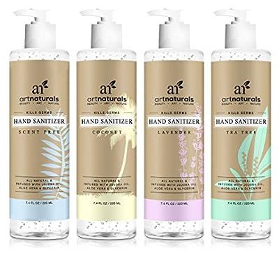 ArtNaturals Natural Hand Sanitiser Gel – (4 x 7.4 Fl Oz / 220ml) – Made with Essential Oils, Jojoba Oil, Aloe Vera - Set Includes Scent Free, Coconut, Lavender and Tea Tree Sanitizer