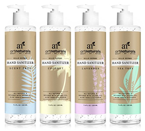 ArtNaturals Natural Hand Sanitiser Gel  (4 x 7.4 Fl Oz/220ml)  Made with Essential Oils, Jojoba Oil, Aloe Vera - Set Includes Scent Free, Coconut, Lavender and Tea Tree Sanitizer