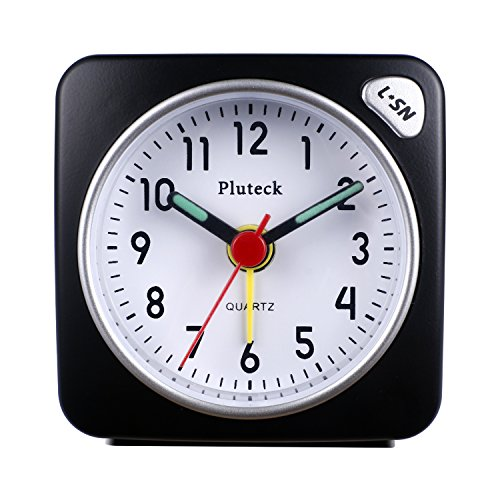 Pluteck Non Ticking Travel Alarm Clock with Light and Snooze/Ascending Sound Alarm/Simple to Set Clocks, Battery Powered, Small, Black