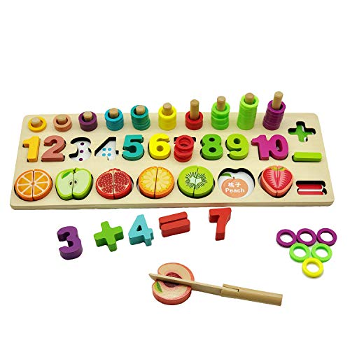 YYoomi Wooden Blocks Puzzle Board Set Early Education Toy with Cutting Fruits Pretend Food Playset for Children Girls Boys for Number Counting, Colors Stacking, Shape Sorting