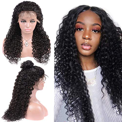 Selena Glueless Water Wave Lace Front Wigs Human hair Curly Wig for Black Woman 100% Unprocessed Virgin Remy Human Hair Wigs Brazilian Water Wave Wig Pre Plucked with Baby Hair 150% Density