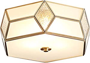 "Modo Lighting Modern Flush Mount Ceiling Light Large Ceiling Light Fixture Gold Copper Frame and White Glass Drum Flush Mount Light Close to Ceiling Light Fixtures for Bedroom Farmhouse (13.8""/ 35cm)"