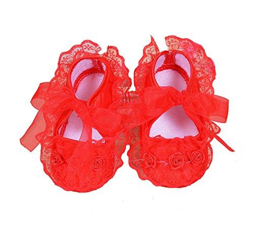 Cinda Baby- Blumen-Schuhe Rot