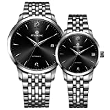 STARKING Couple Watch Automatic Self Winding Silver Black AML0194 Sapphire Stainless Steel Watches Date