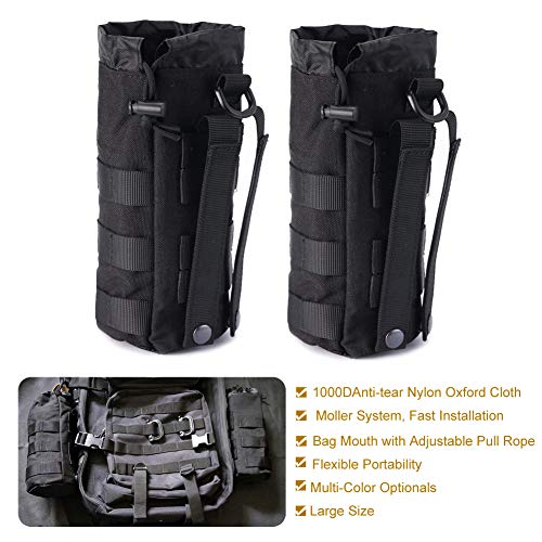 R.SASR Upgraded Sports Water Bottles Pouch Bag, Tactical Drawstring Molle Water Bottle Holder Tactical Pouches, Travel Mesh Water Bottle Bag Tactical Hydration Carrier (Black-2 Pack)