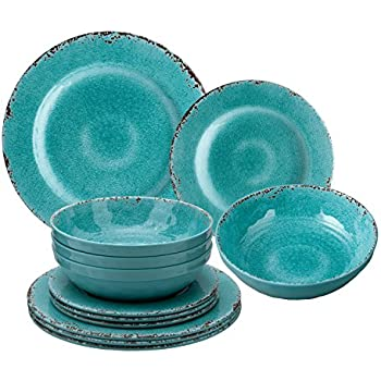Gourmet Art 12-Piece Crackle Melamine Dinnerware Turquoise  sc 1 st  Amazon.com & Amazon.com | Gourmet Art 12-Piece Crackle Melamine Dinnerware ...
